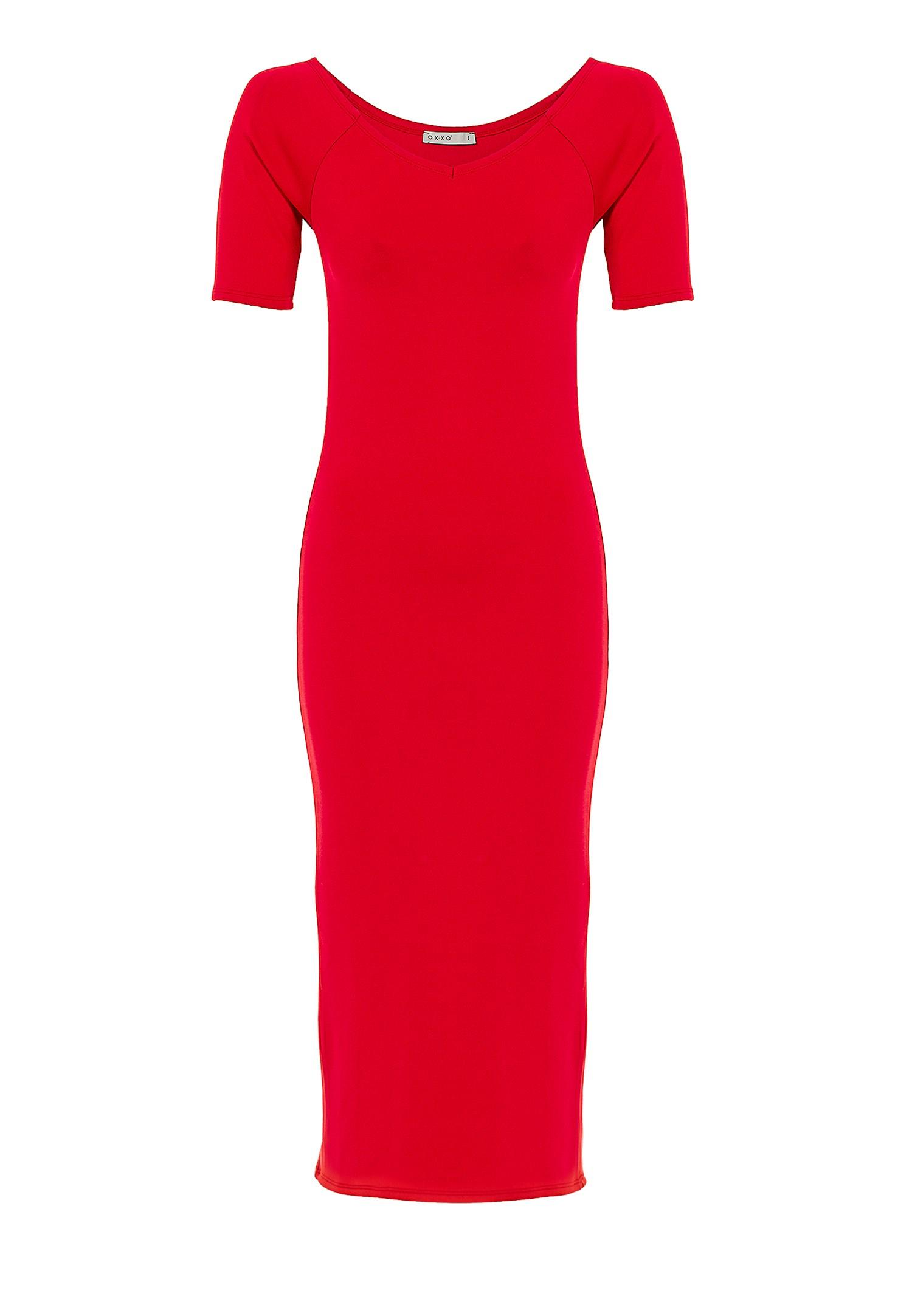 Bayan Kırmızı Kısa Kollu Diz Altı Elbise