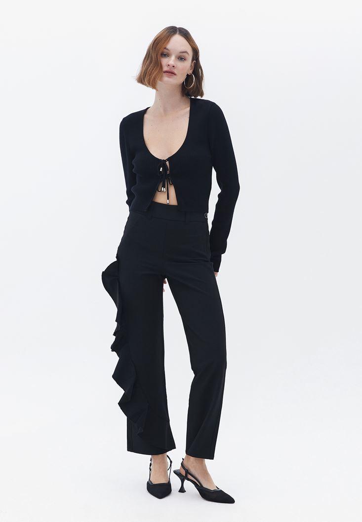 Bayan Siyah Fırfır Detaylı Pantolon