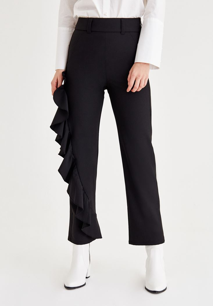 Black Pants with Ruffle Detail