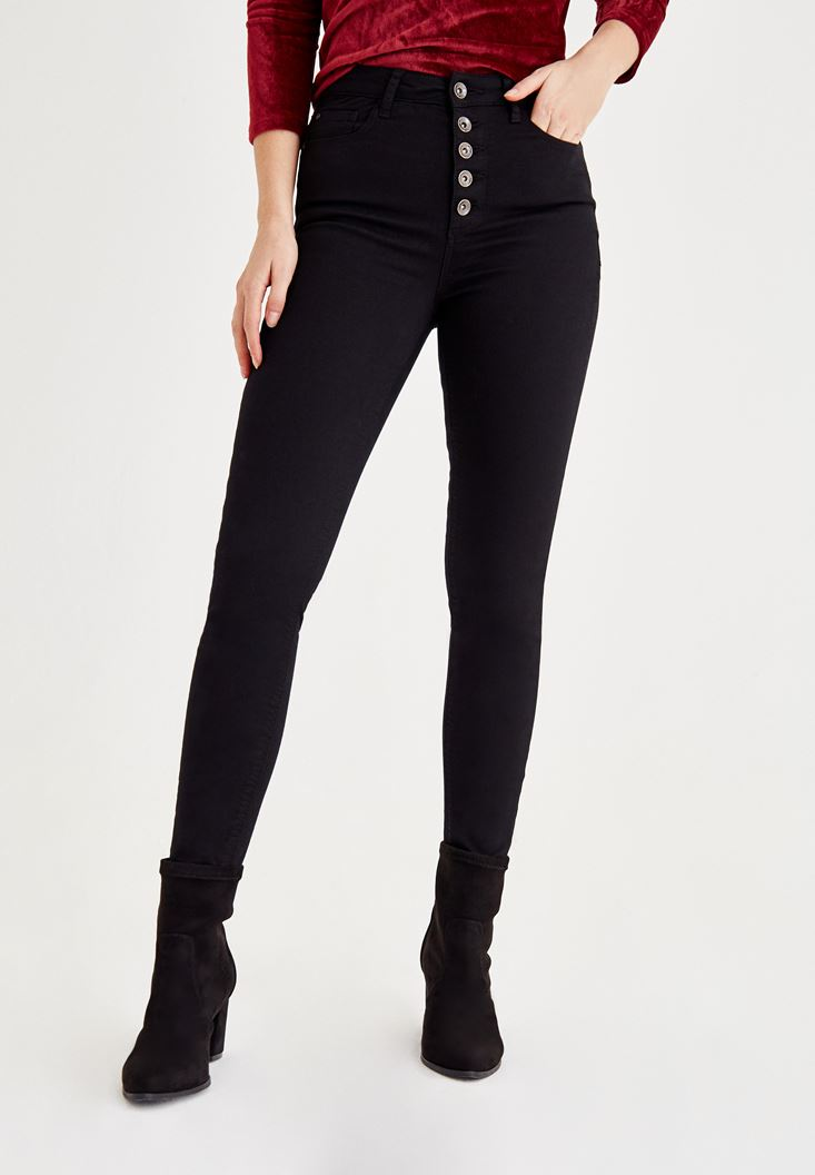 Black Ultra High Rise Pants With Trimmings Detailed