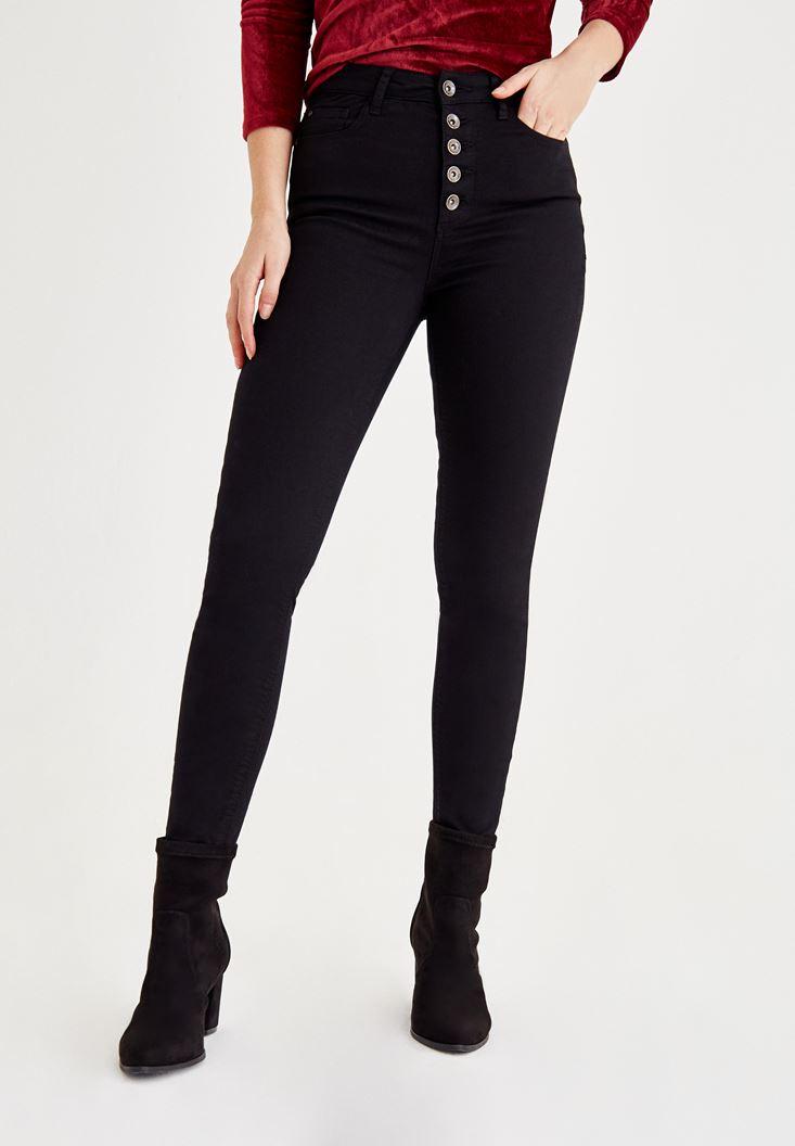 Siyah Ultra Yüksek Bel Düğme Detaylı Pantolon