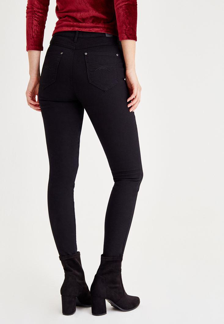 Bayan Siyah Ultra Yüksek Bel Düğme Detaylı Pantolon