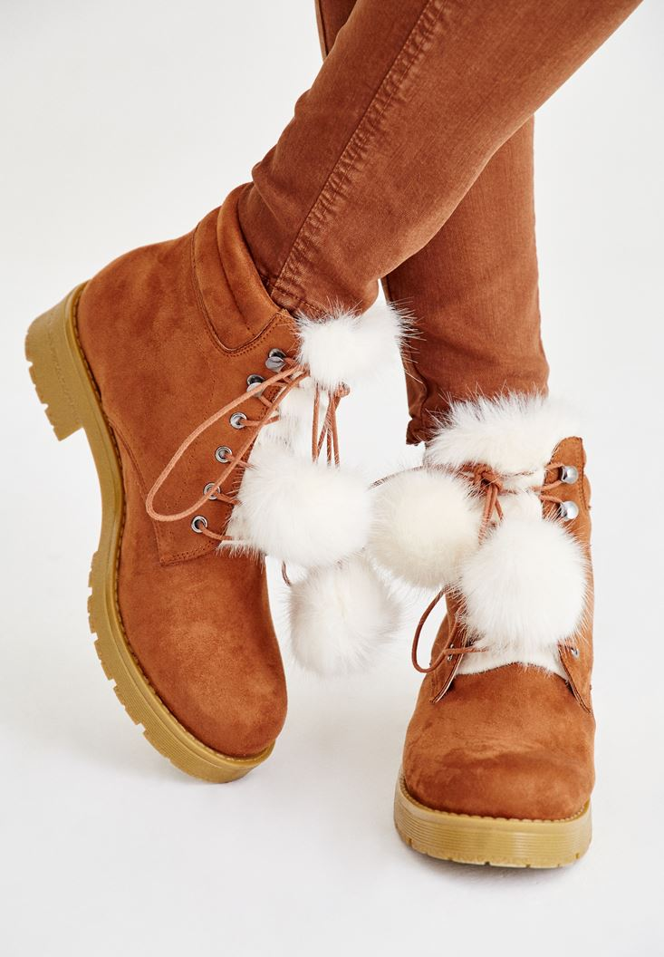 Brown Boot with Pompon Details