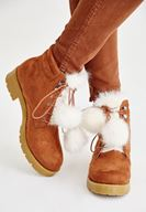 Women Brown Boot with Pompon Details