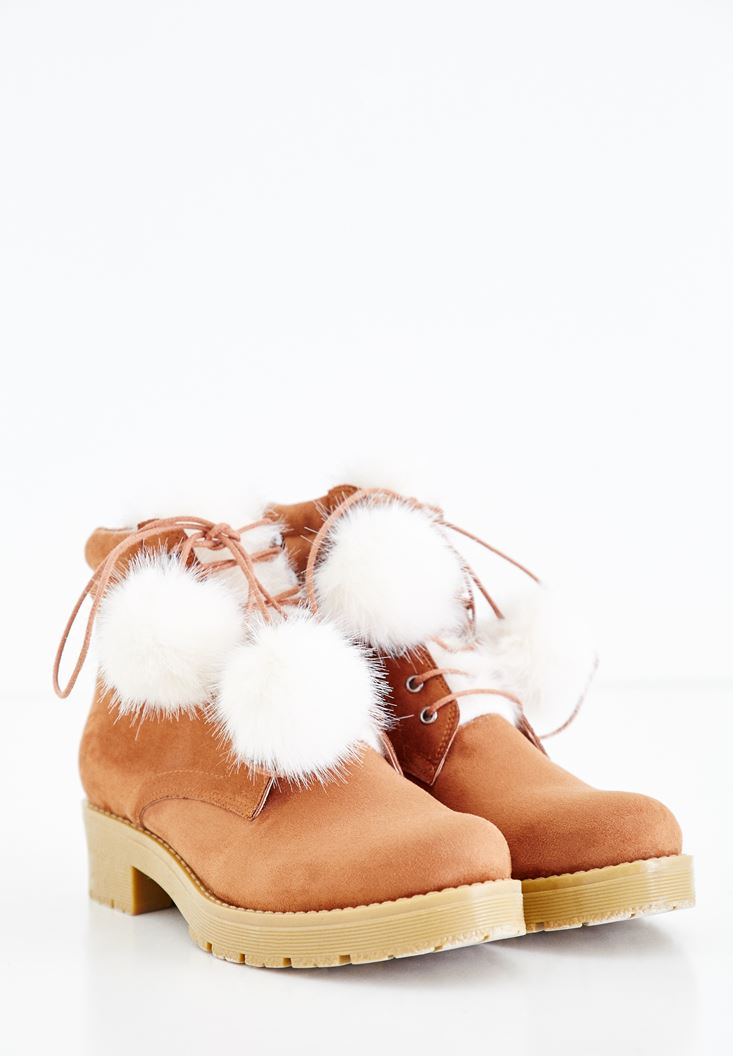 Boot with Pompon Details