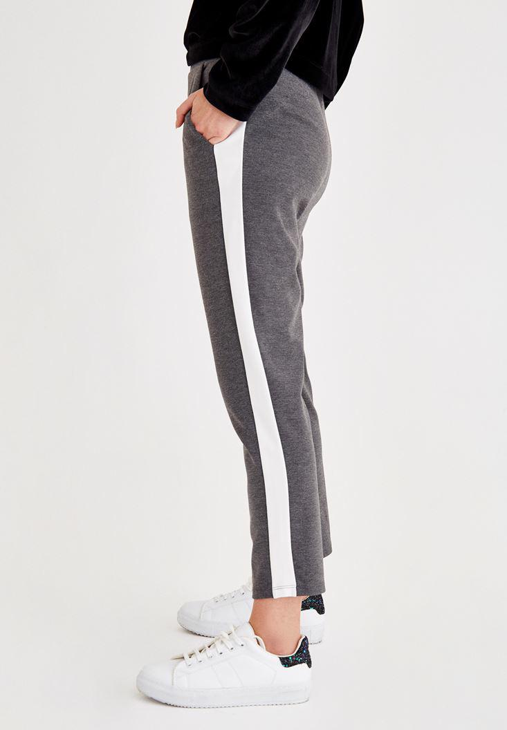 Women Grey Pants With Stripe Details