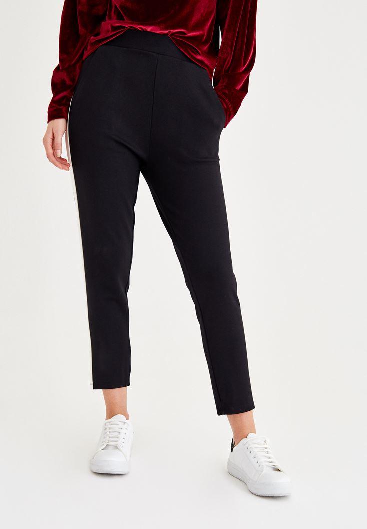 Bayan Çok Renkli Yanları Şerit Detaylı Pantolon