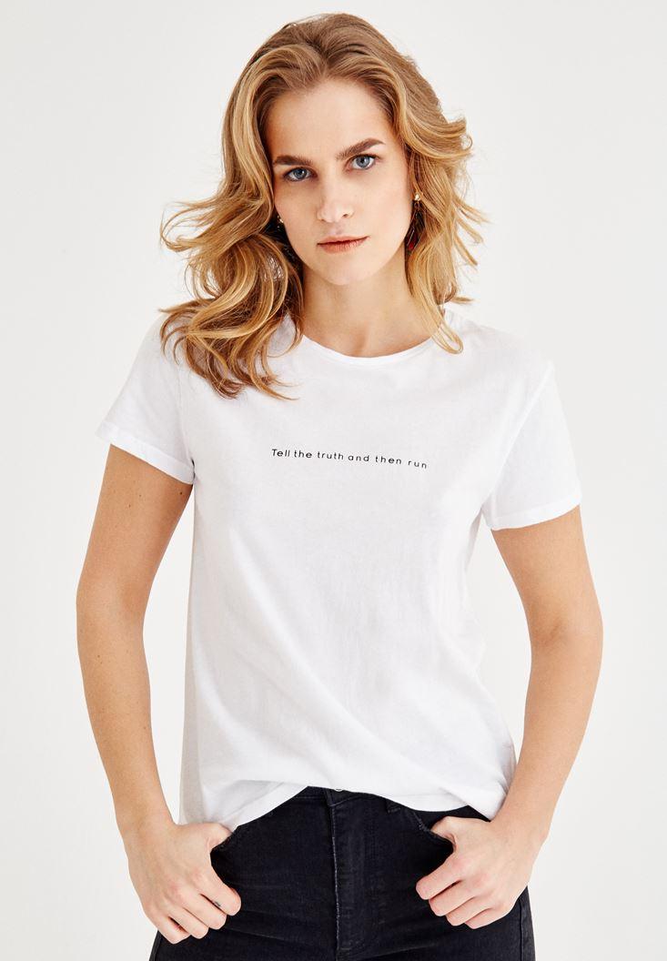 Bayan Çok Renkli Sloganlı Basic Yarım Kollu Tişört