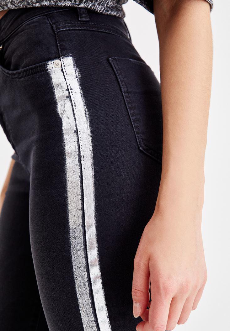 Women Black Pants with Shiny Details