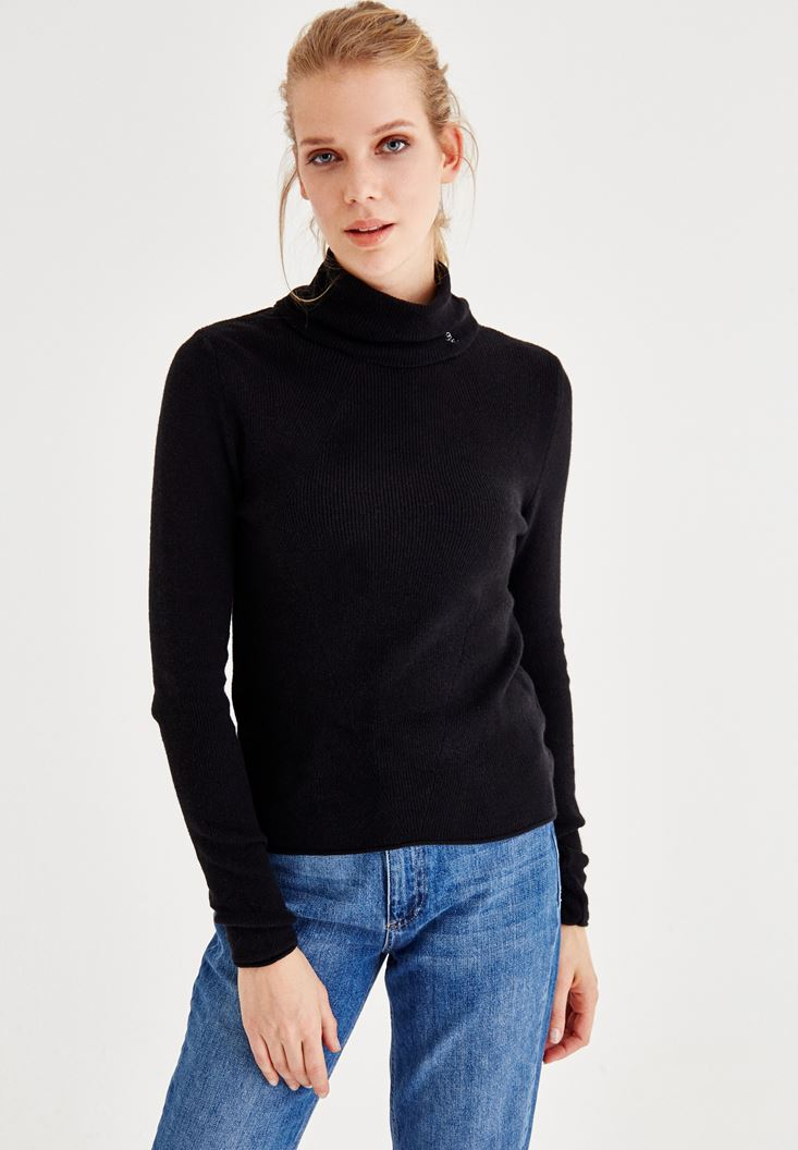 Black Long Sleeve Roll Neck