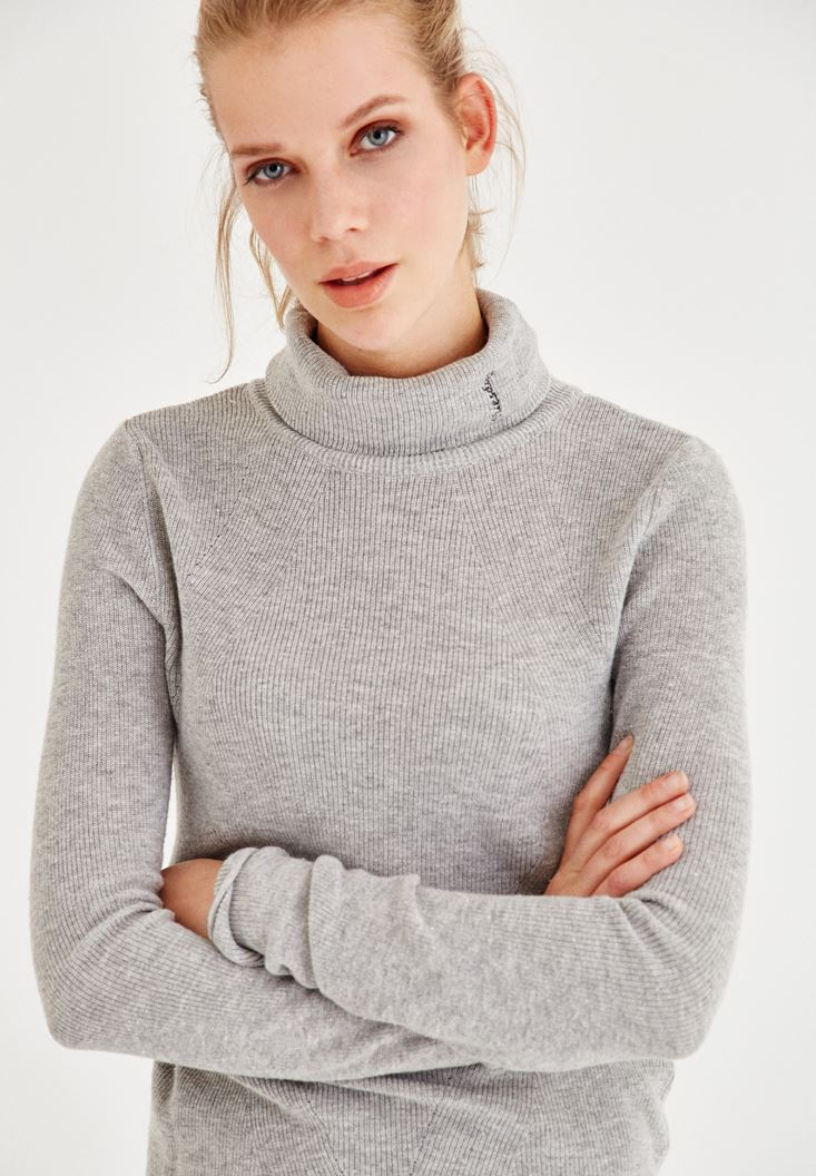 Grey Long Sleeve Roll Neck