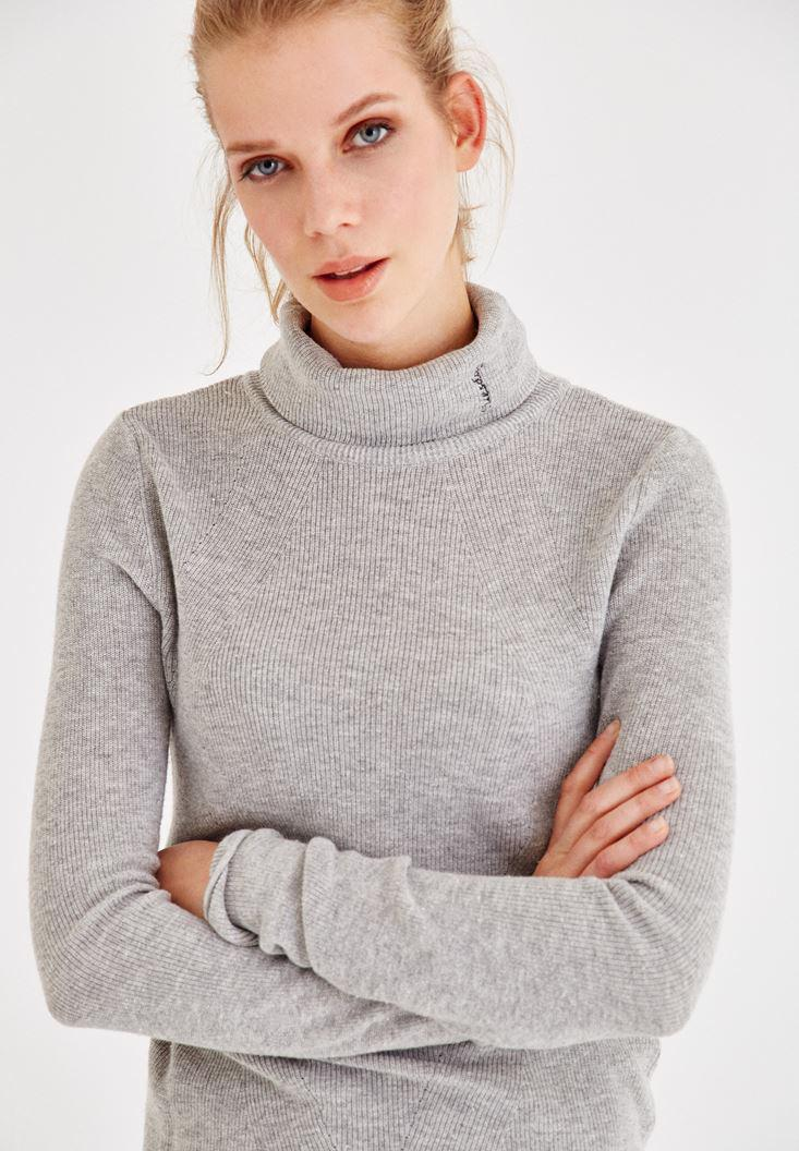Women Grey Long Sleeve Roll Neck