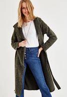 Bayan Yeşil Kemer Detaylı Kapüşonlu Uzun Ceket