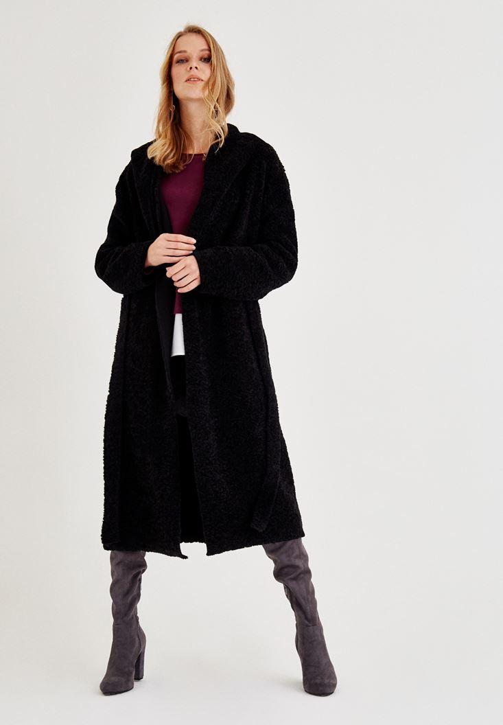 Bayan Siyah Kapüşonlu Uzun Kemerli Hırka