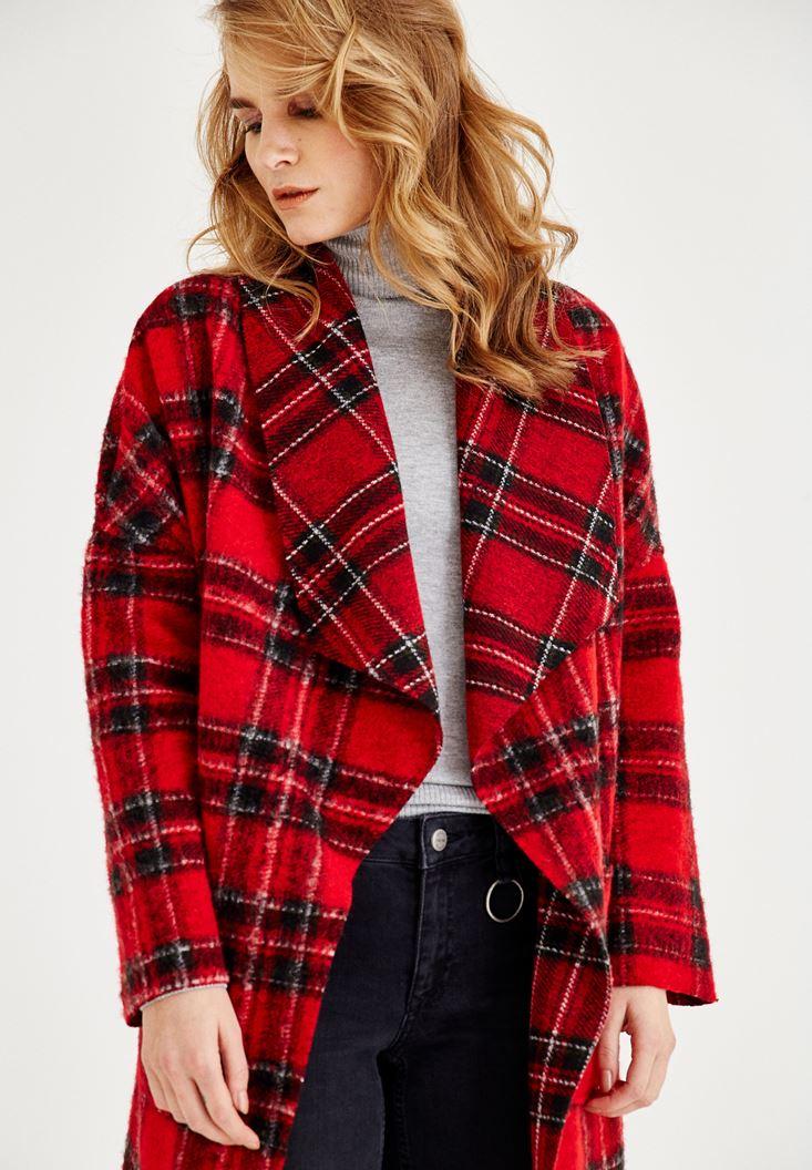 Bayan Kırmızı Ekose Desenli Uzun Ceket