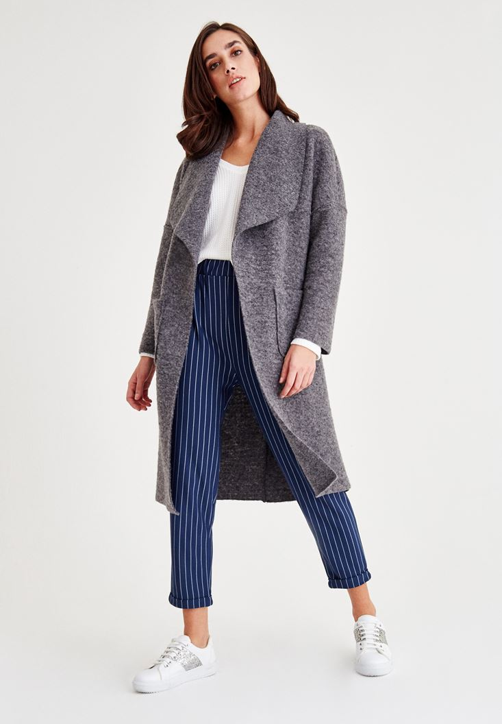 Grey Unlined Wool Coat