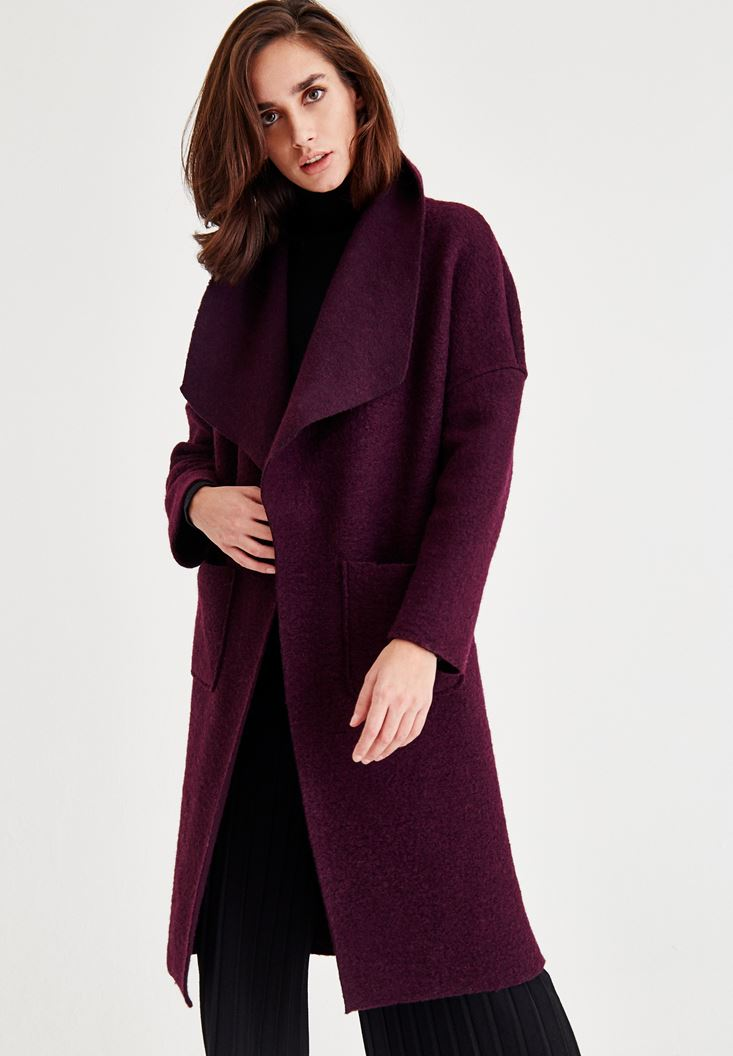 Purple Unlined Wool Coat