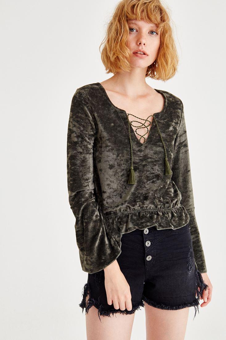 Yeşil Bağlama Detaylı Kadife Bluz