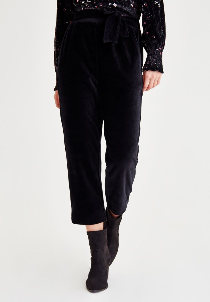 Bayan Siyah Kadife Jogger Pantolon