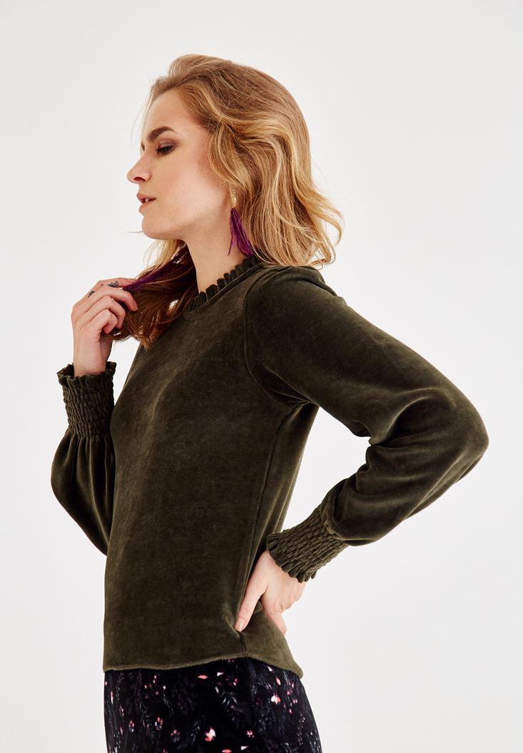 Bayan Yeşil Fırfır Kol ve Yaka Detaylı Bluz