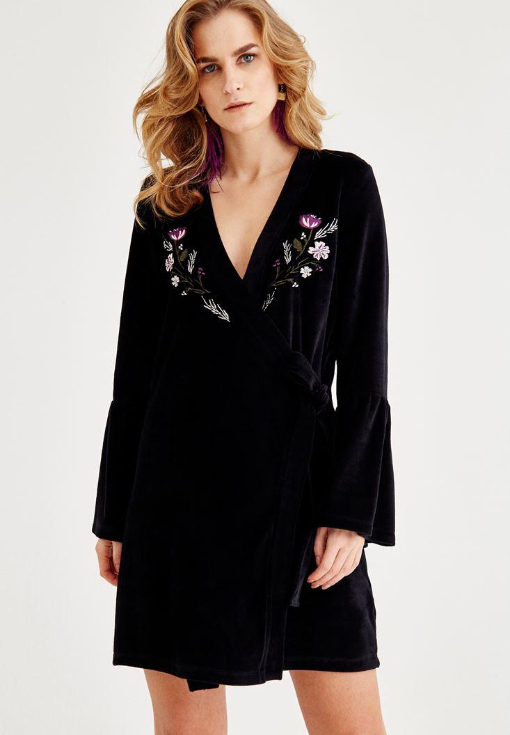 Bayan Siyah Çiçek Desenli Kruvaze Elbise