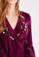 Bayan Bordo Çiçek Desenli Kruvaze Elbise