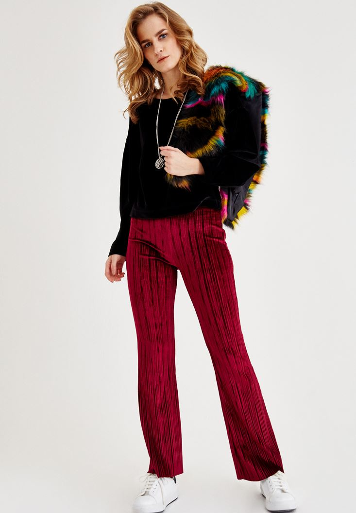 Bordeaux Velvet Loose Pants