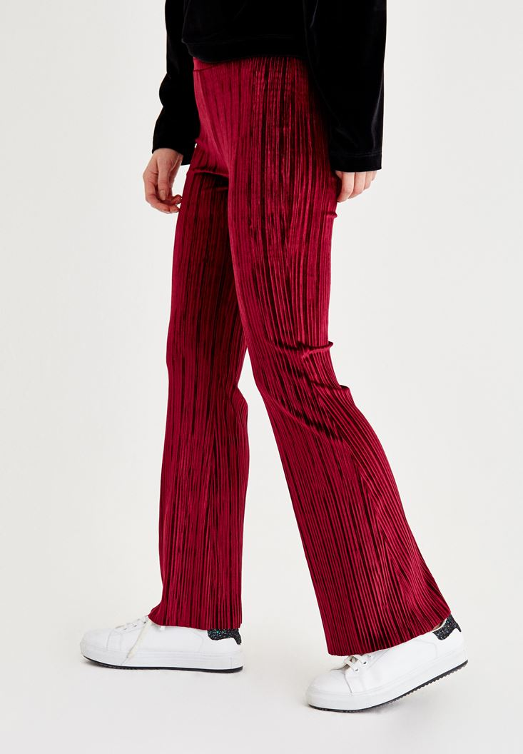 Bayan Bordo Kadife Bol Pantolon
