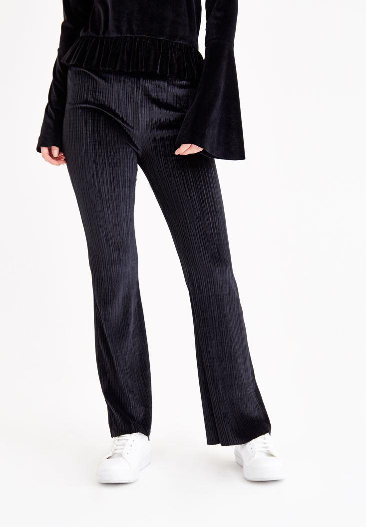 Bayan Siyah Kadife Bol Pantolon