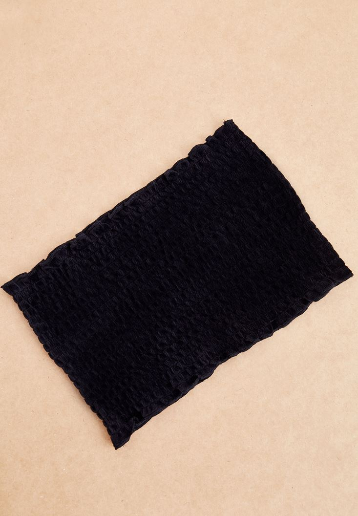Siyah Kadife Görünümlü Korse