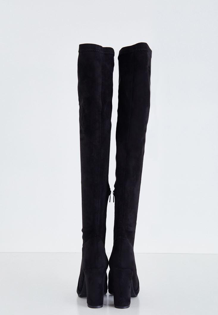 Bayan Siyah Topuklu Uzun Çizme