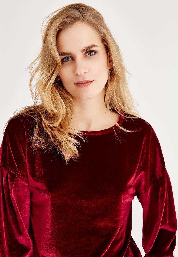 Bayan Bordo Kadife Görünümlü Sweatshirt