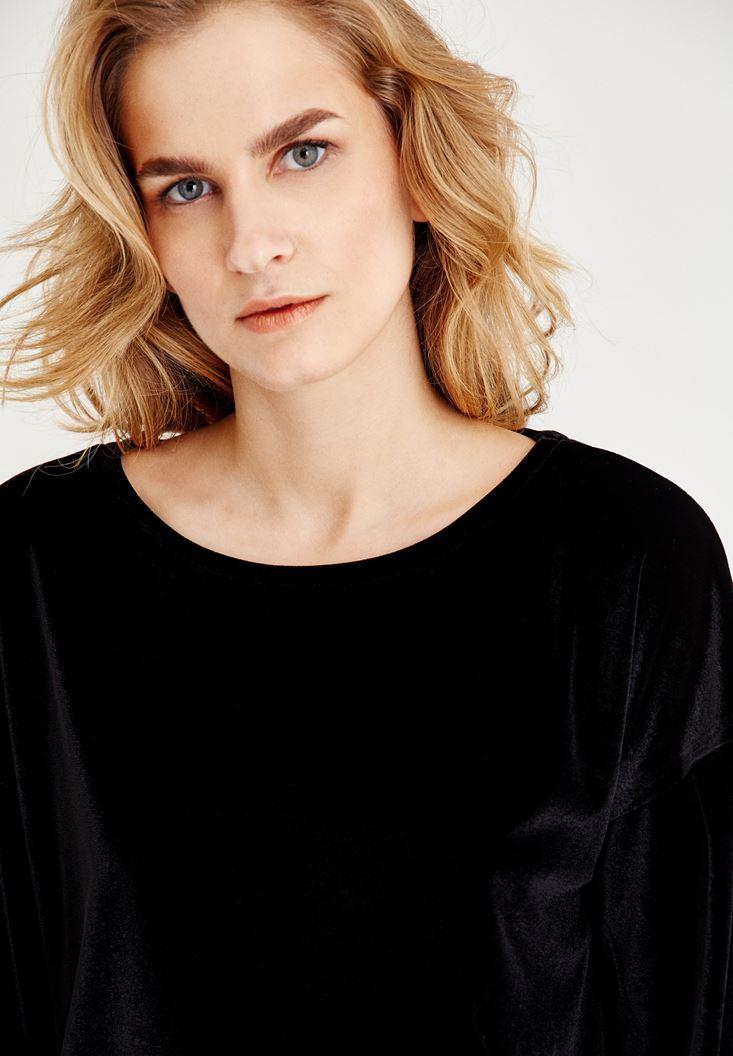 Bayan Siyah Kadife Görünümlü Sweatshirt