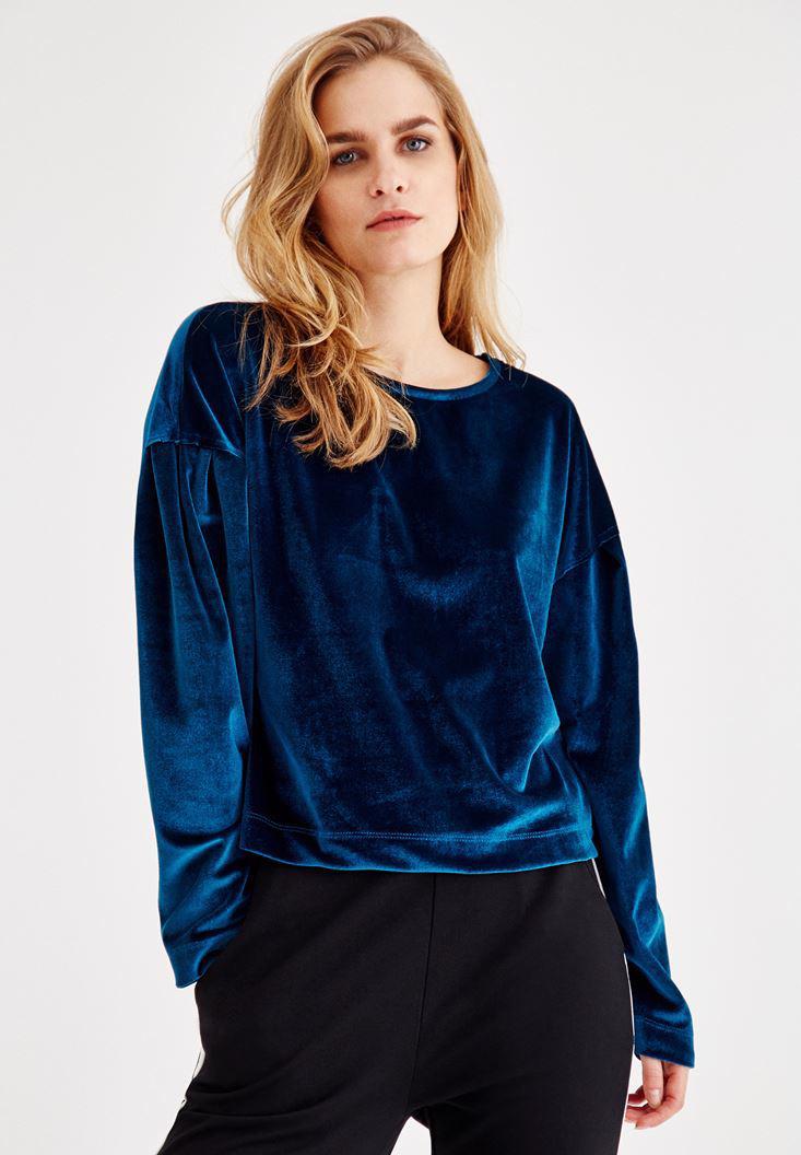 Bayan Mavi Kadife Görünümlü Sweatshirt