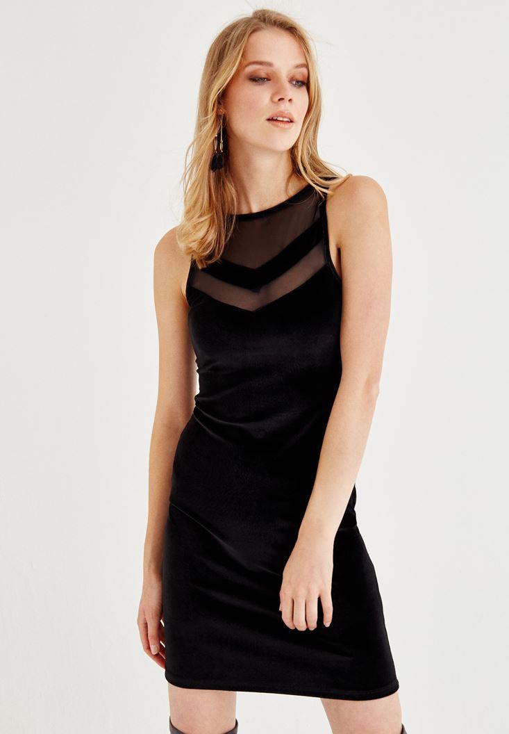 Bayan Siyah Tül Detaylı Kadife Elbise