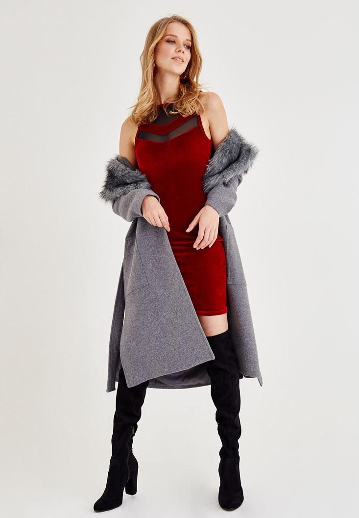 Kırmızı Tül Detaylı Kadife Elbise