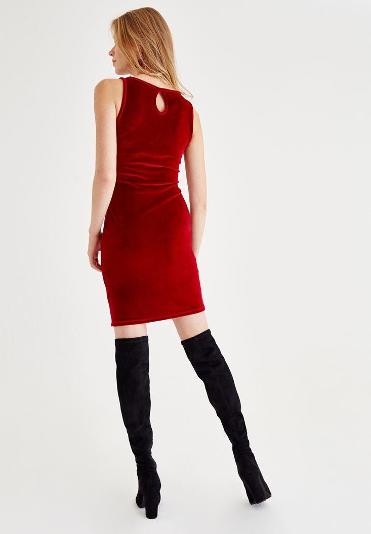 Bayan Kırmızı Tül Detaylı Kadife Elbise