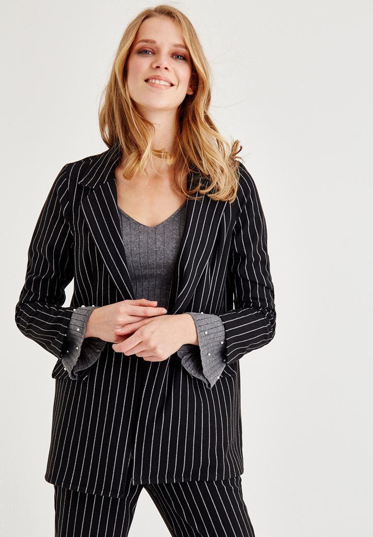 Black Striped Blazer Jacket