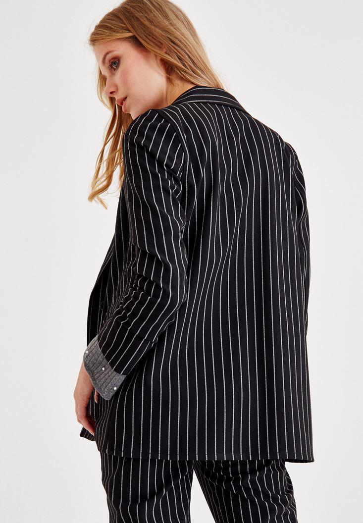 Bayan Siyah Çizgili Blazer Ceket