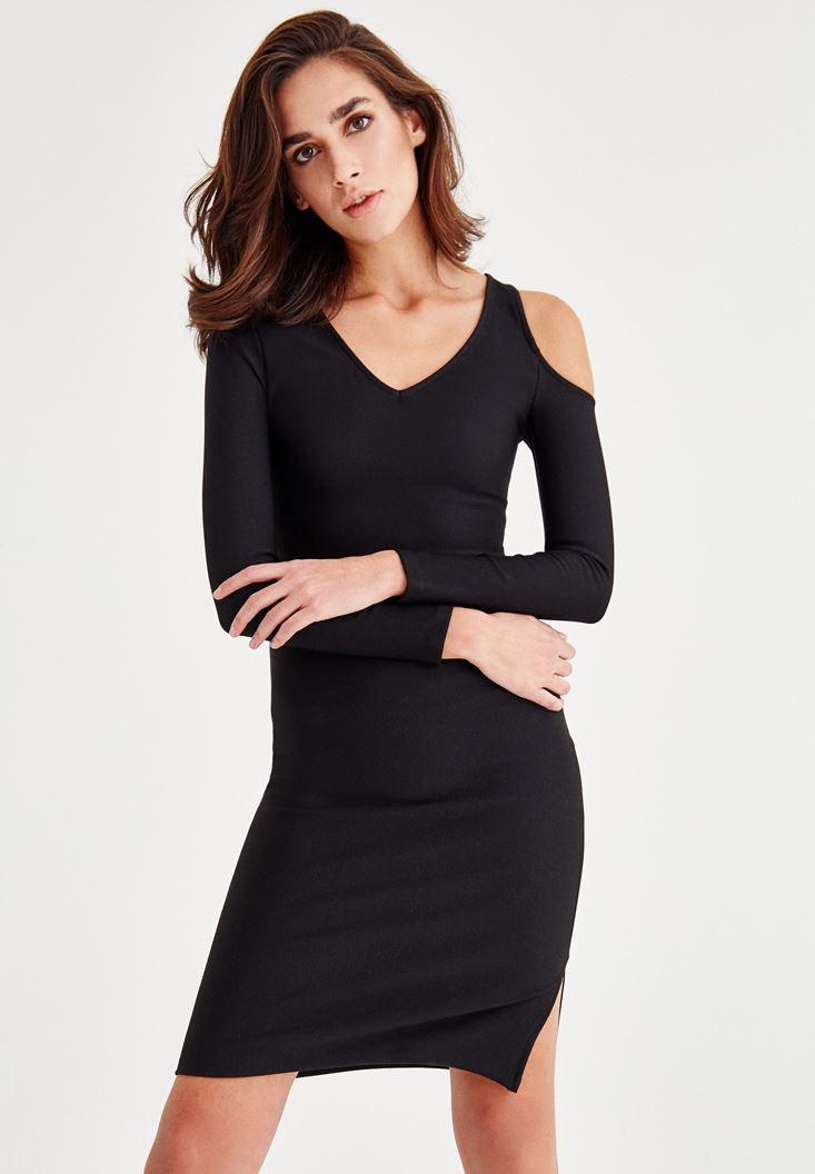 Siyah Omuz Detaylı Dar Kesim Elbise