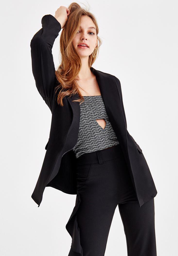 Bayan Siyah Uzun Kollu Blazer Ceket