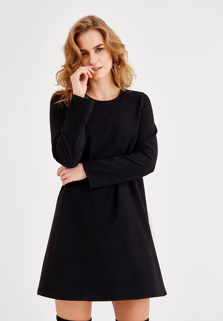 Bayan Siyah Uzun Kollu Mini Elbise