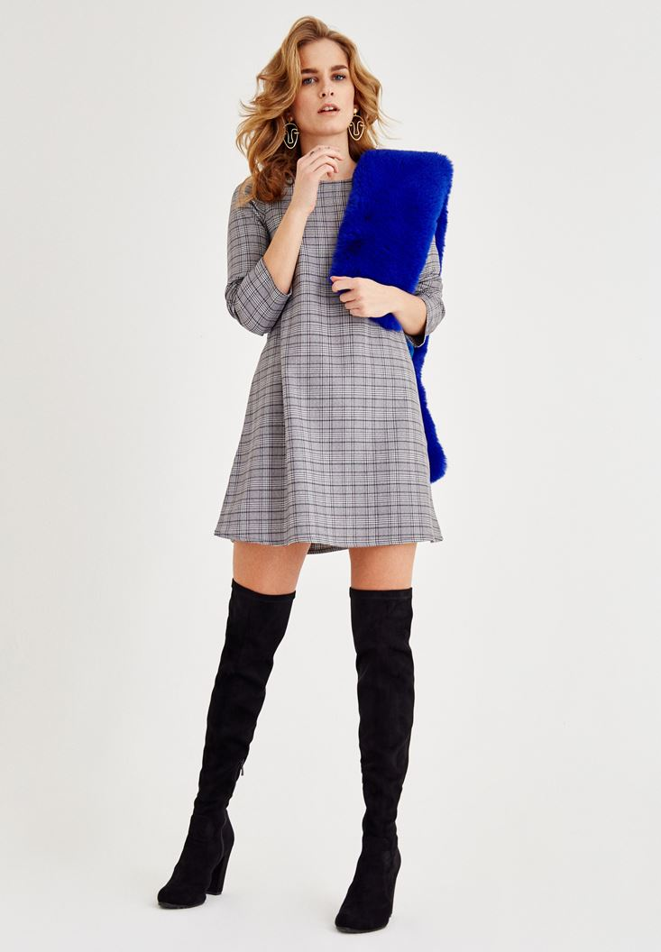 Grey Long Sleeve Dress with Plaid Detailed