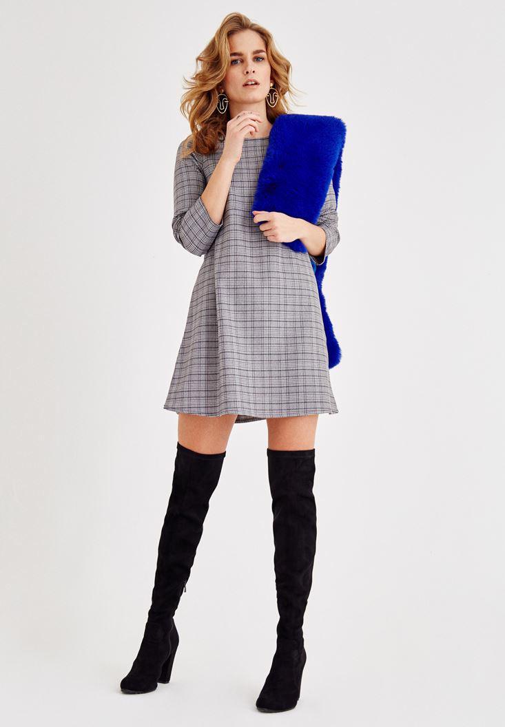 Bayan Gri Uzun Kollu Ekose Elbise