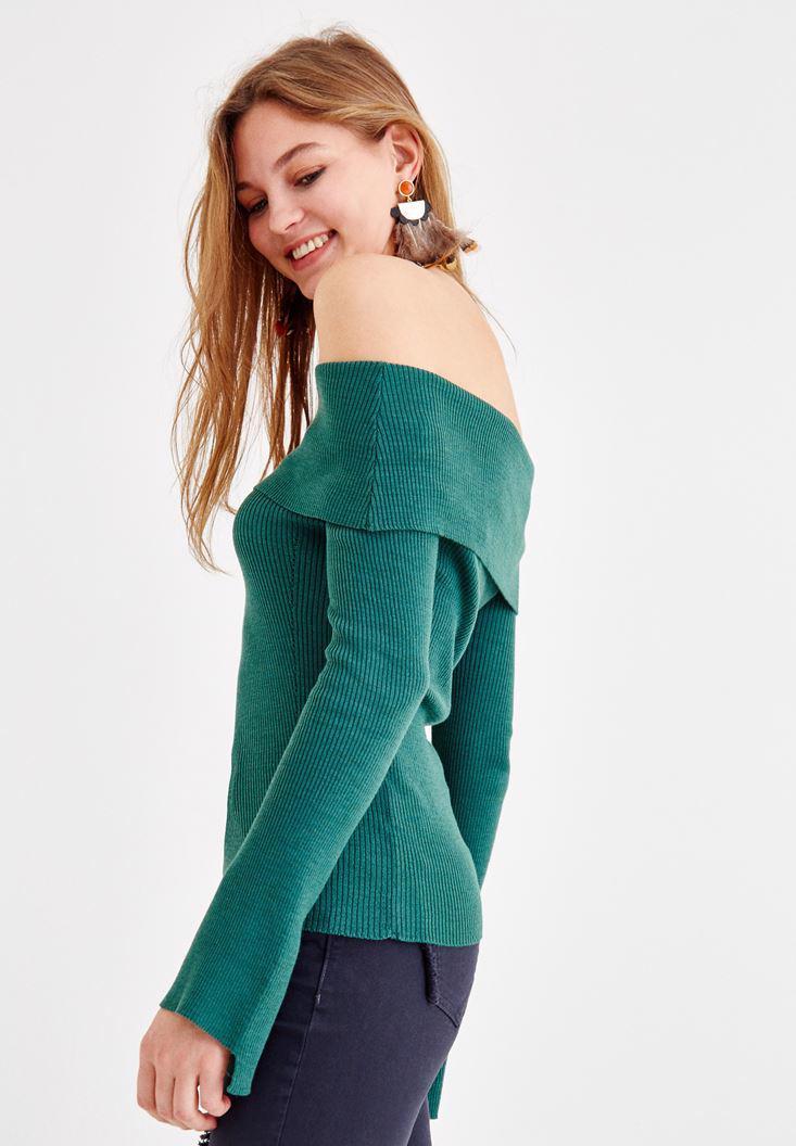 Bayan Yeşil Düşük Omuz Triko