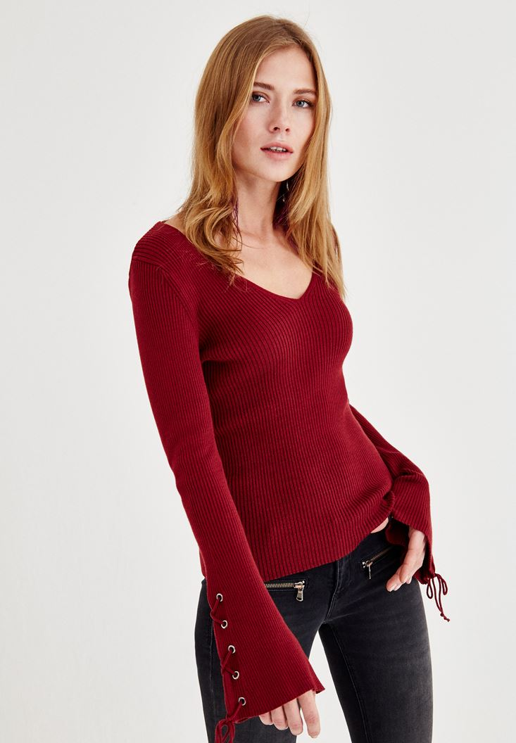 Bordeaux Pullover with Arm Line Detail