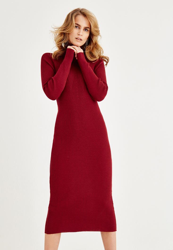 Bayan Bordo Boğazlı Dar Elbise