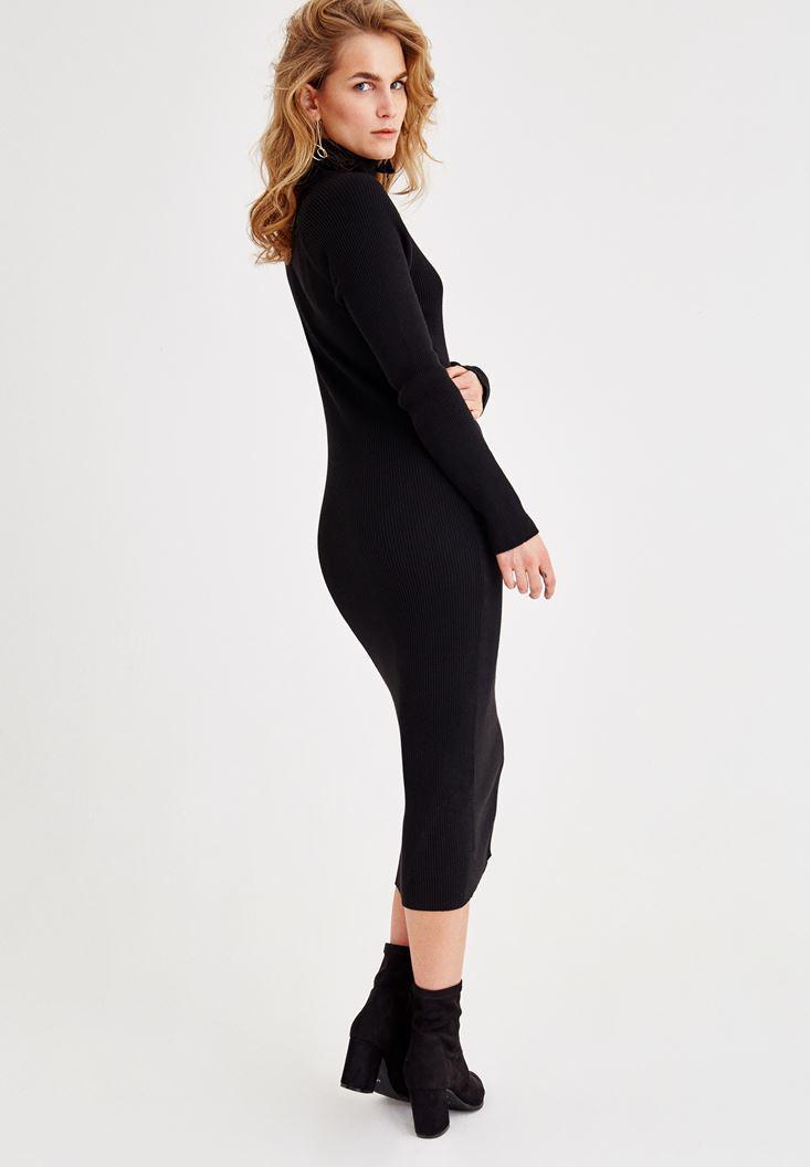 Bayan Siyah Boğazlı Dar Elbise