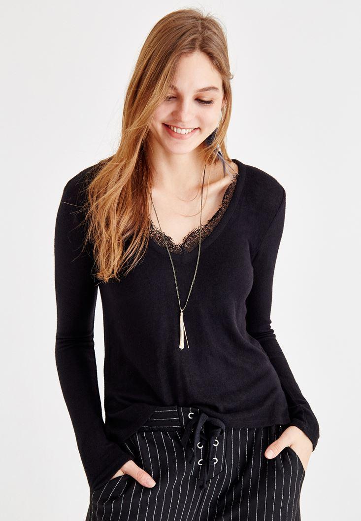 Black V Neck Pullover with Lace Details