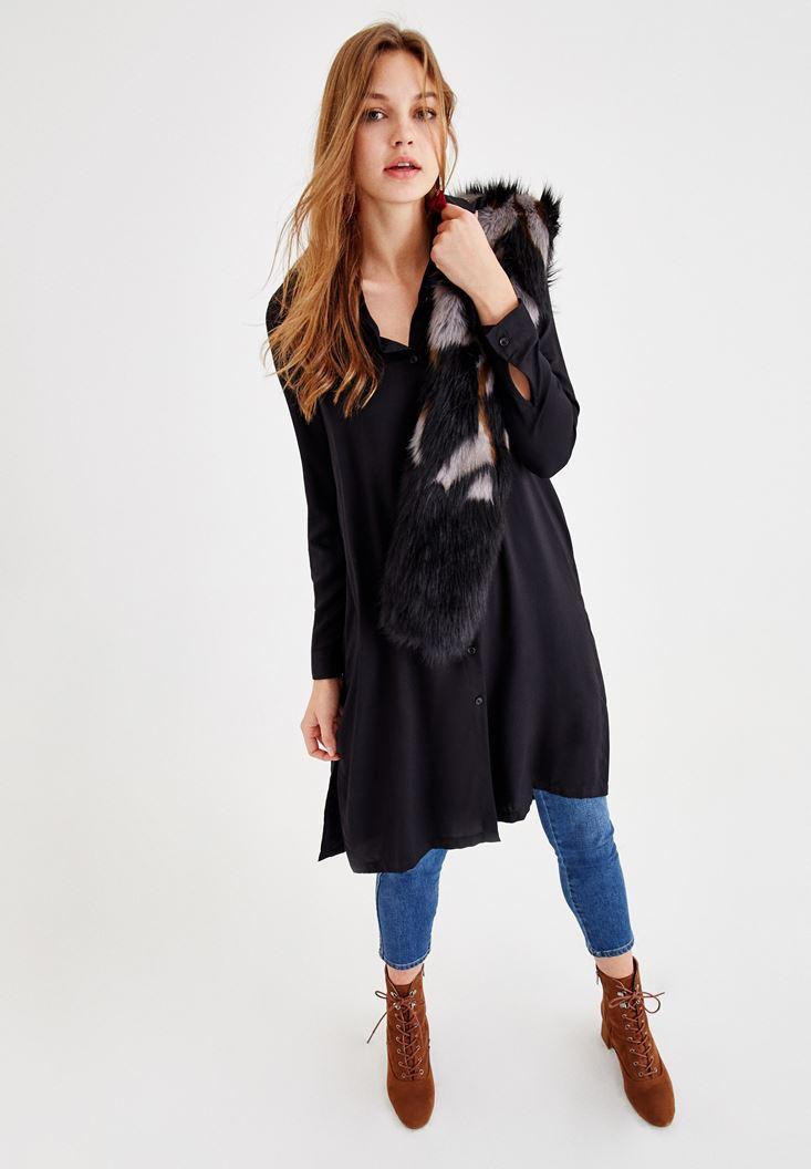 Siyah Uzun Kollu Uzun Gömlek